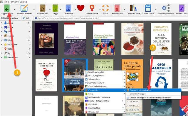 convertire libri in pdf con calibre