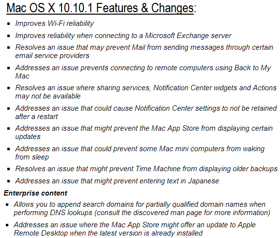 Mac OS X Yosemite 10.10.1 Final Features and Changes