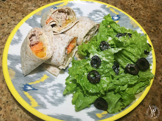 Tuna pocket wraps with salad on the side
