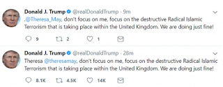 President Trump fired back at British Prime Minister Theresa May after she criticized him for retweeting anti-Muslim posts.