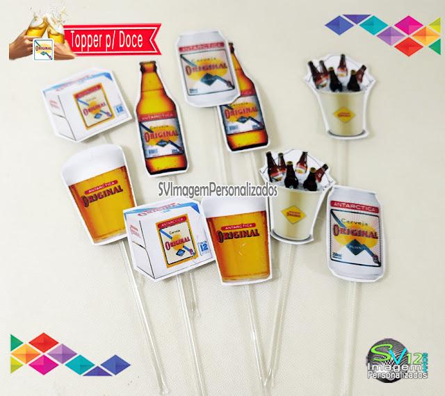 Festa Boteco Cerveja Antarctica Original dica decoração , os preços mais baratos para personalizados topper para doces