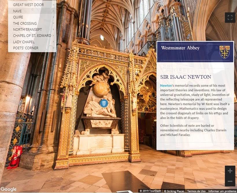 Túmulo de Isaac Newton na Abadia de Westminster. Foto: reprodução do tour virtual no site da Abadia