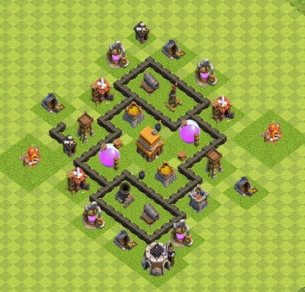 Base COC TH4 Trophy 2