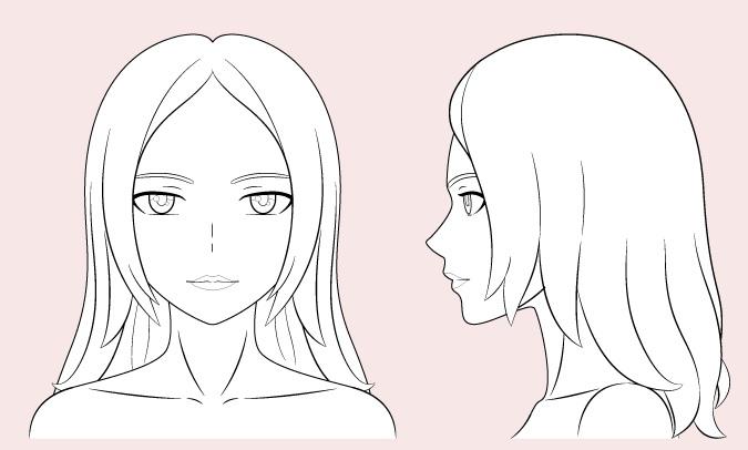 Wanita anime menggambar garis besar
