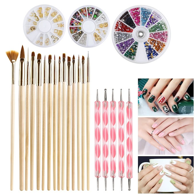 Nail Art Kit  Nail Art Brush Dotting Pens Rhinestonesand more