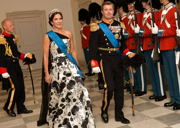 Crown Princess Mary wore Lasse Spangenberg Copenhagen Dress. Princess Marie is wearing a new Rikke Gudnitz gown and new Tiara