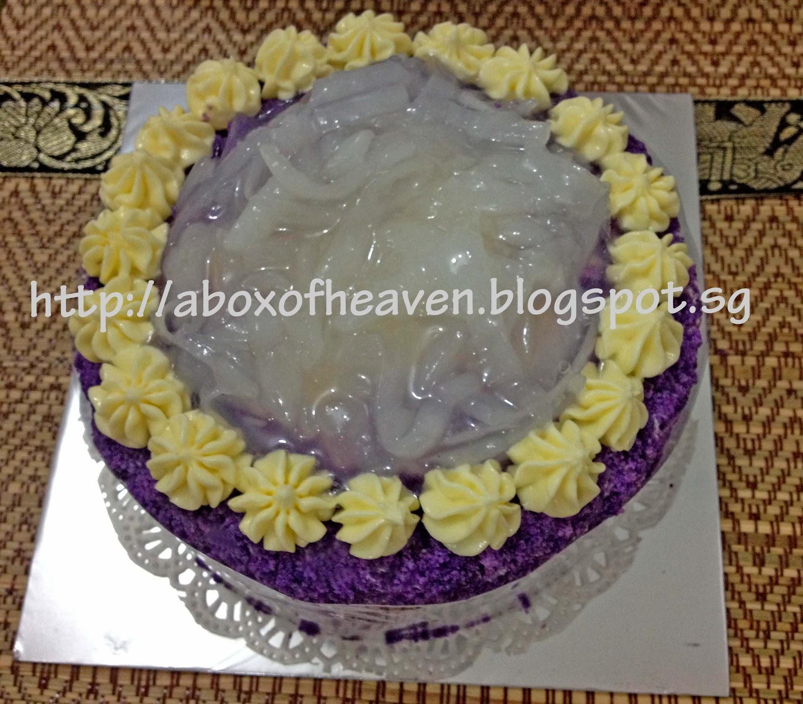 A Box of Heaven: Ube Macapuno Cake (Purple Yam Cake)