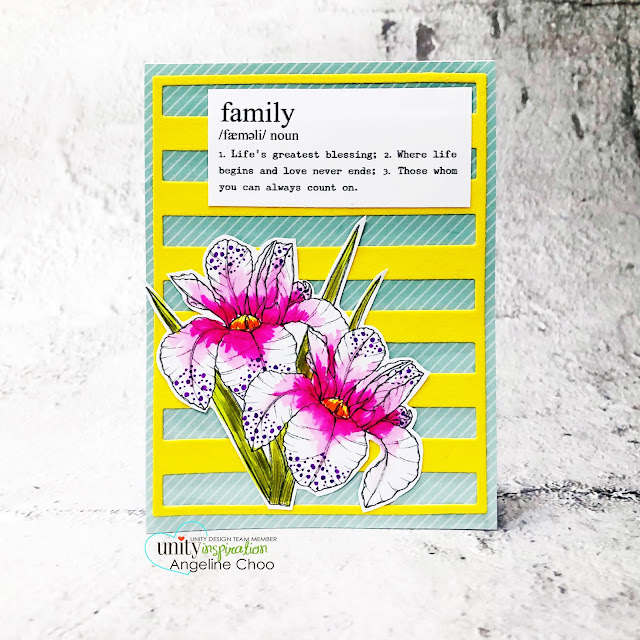 ScrappyScrappy: March Floral Frenzy Unity Stamp release - Family Love #scrappyscrappy #unitystampco #cardmaking #card #papercraft #handmadecard #youtube #quicktipvideo  #gracielliedesigns #familylove #orchidstamp #floralstamp #tombowmarkers #thermoweb #flocktransfersheet #mftstamps #boldstripesdie