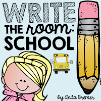 Write the Room activity with a back to school theme- perfect as a Kindergarten literacy center