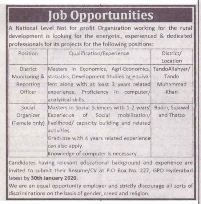 National Level  Non-Government Organization (NGO) Jobs 2020 for the Rural Development
