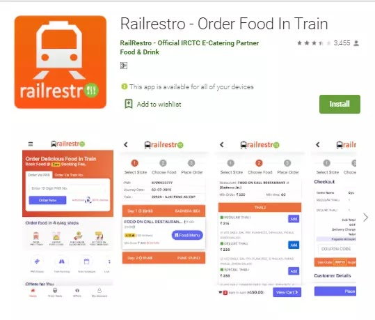 railrestro order food online in train