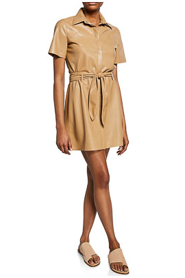 Nanushka Roberta Faux Leather Belted Dress