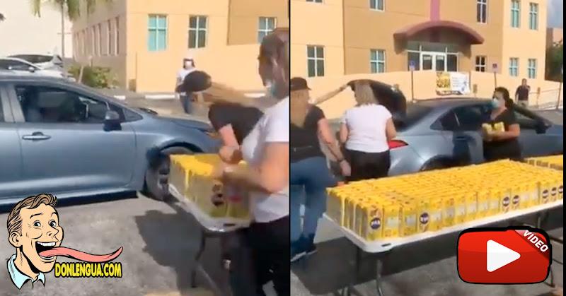 Embajada de Venezuela en Estados Unidos reparte Harina Pan en El Doral