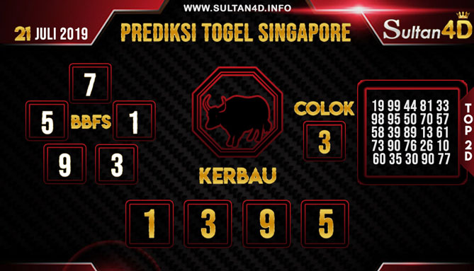 PREDIKSI TOGEL SINGAPORE SULTAN4D 21 JULI 2019