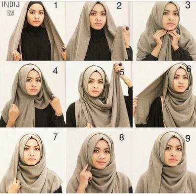 Cara memakai jilbab pashmina menutup dada