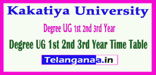 Kakatiya University Degree UG 1st 2nd 3rd Year Time Table