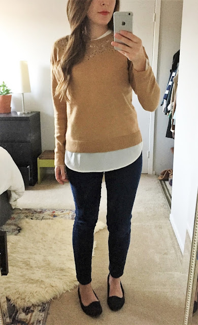Layered lace collar, camel sweater and silk blouse with basic skinny jeans and black smoking shoes