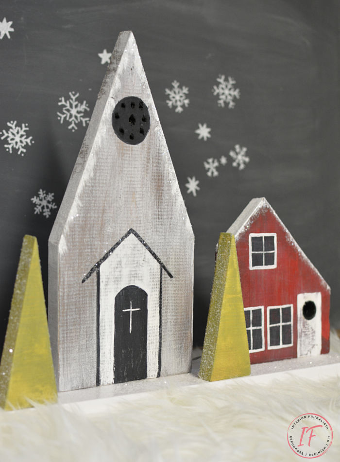 How to build a Scandinavian Village with rustic charm, an inexpensive Christmas decor idea for a fireplace mantel with salvaged scrap wood lumber.