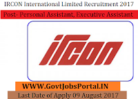 Ircon International Limited Recruitment 2017-Personal Assistant, Executive Assistant