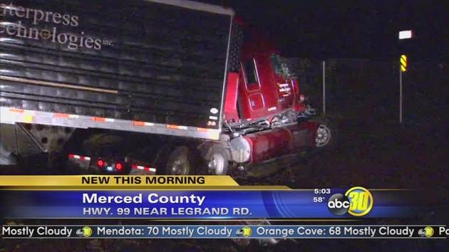 semi truck collision merced county highway 99 le grand road