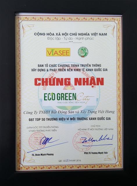 Eco green city lọt top 50 dự án vì môi trường xanh quốc gia
