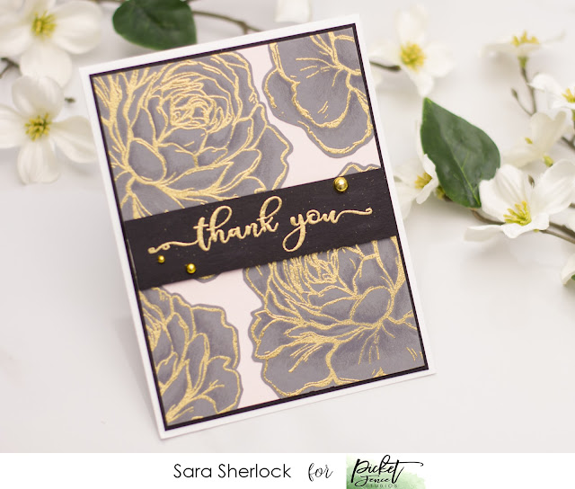 Picket Fence Studios, A Rose, Fancy Sentiments, Thank you card, handmade card, heat embossing