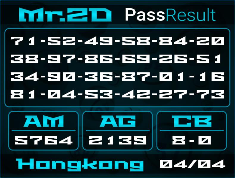 Prediksi Mr.2D   PassResult - Kamis, 4 April 2021 - Prediksi Togel Hongkong