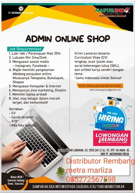 Lowongan Kerja Admin Online Shop Herbal Naturindo Rembang