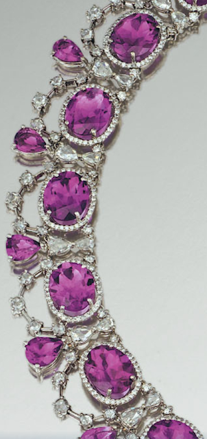 Necklace detail: Amethyst and diamond parure, Michael Youssoufian.