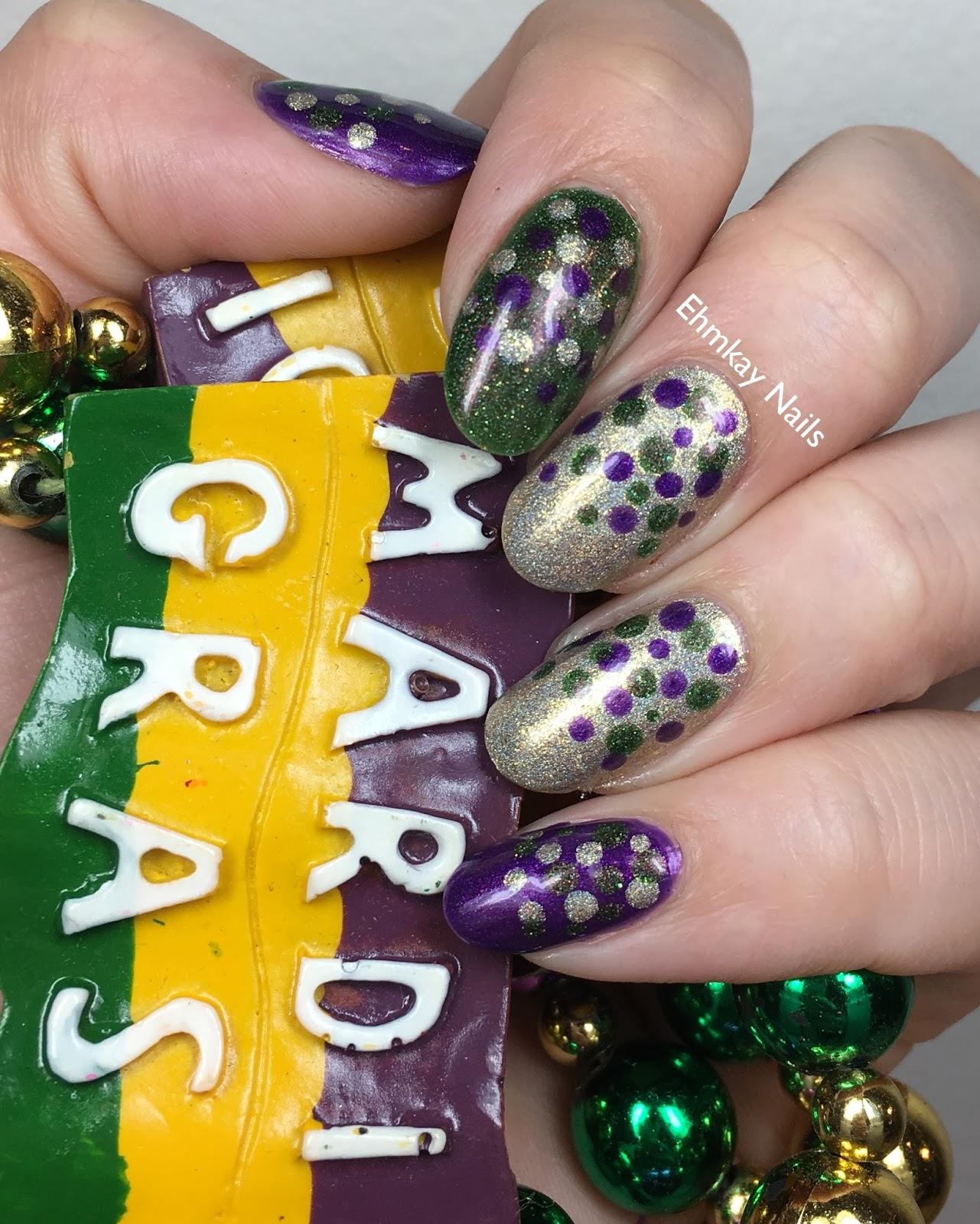 ehmkay nails: Mardi Gras Nail Art with Girly Bits