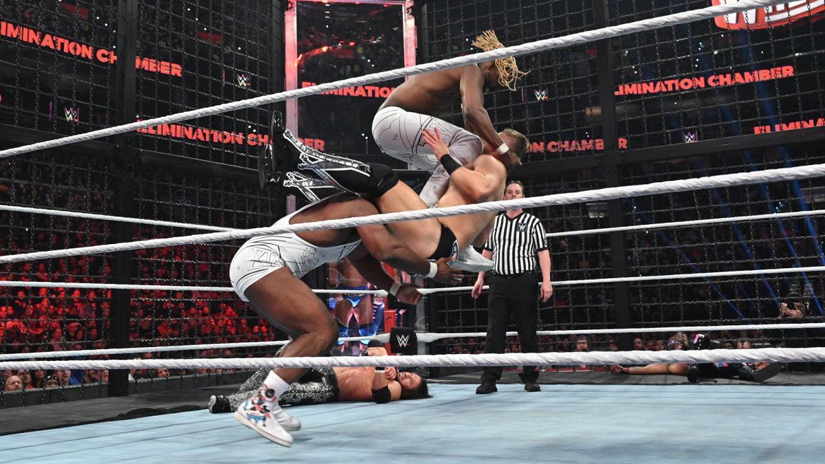 Big E, Kofi Kingston, the Miz, John Morrison in WWE Elimination Chamber