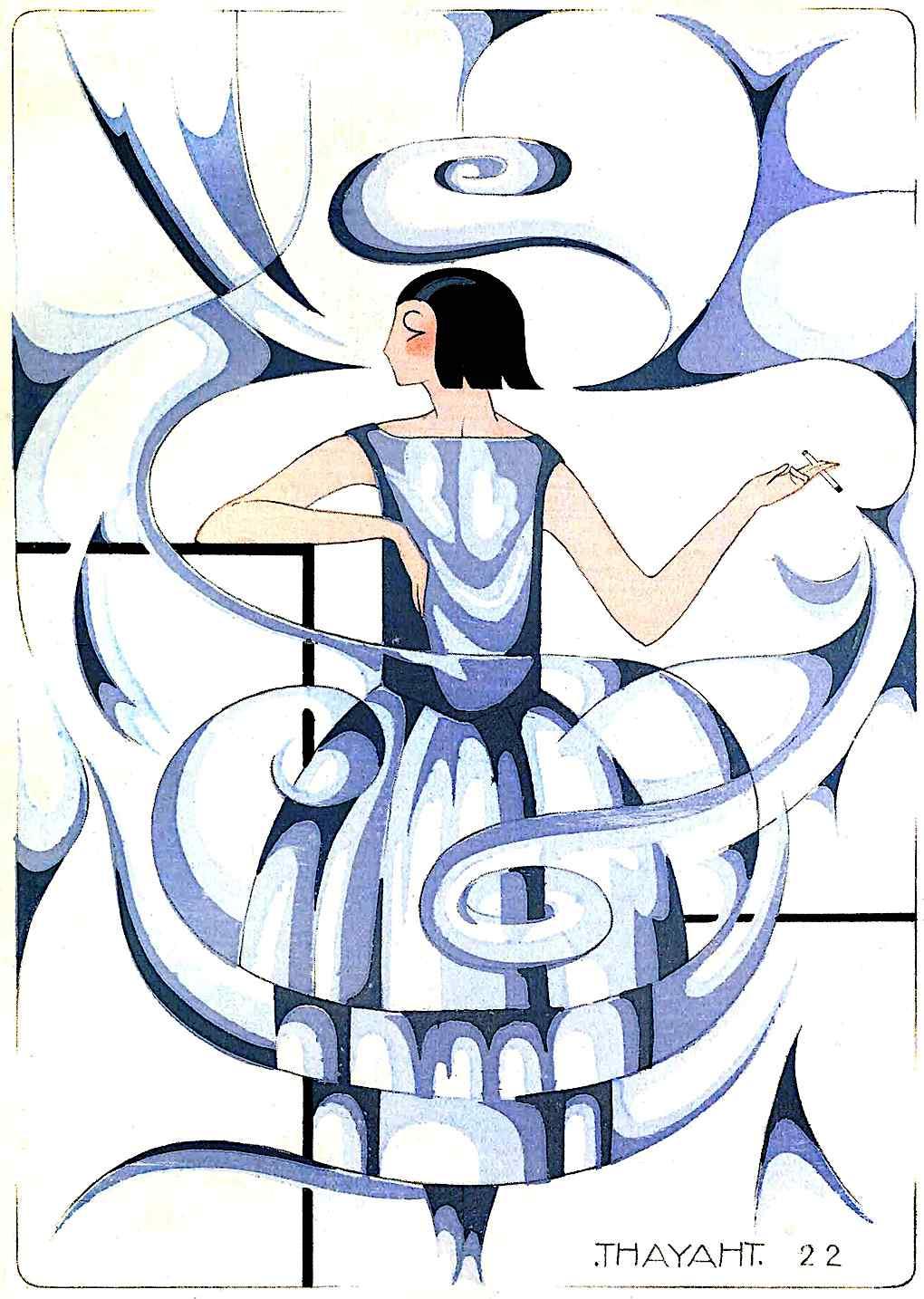 a 1922 fashion illustration of a woman smoking