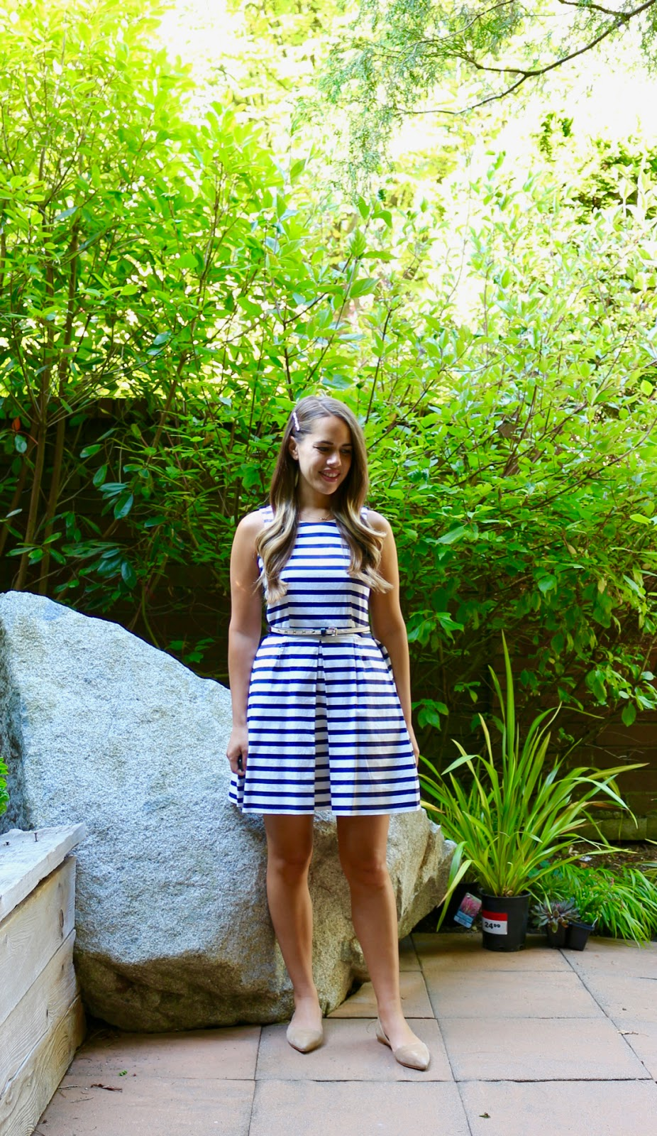 Jules in Flats - Gap Fit and Flare Striped Dress (Business Casual Spring Workwear on a Budget)