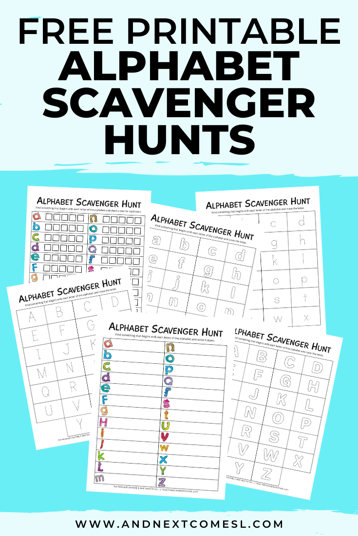 Free alphabet scavenger hunt printables for kids