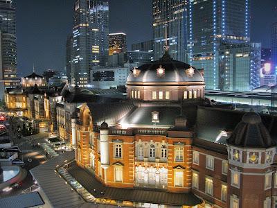 Recently restored Tokyo Station by night.
