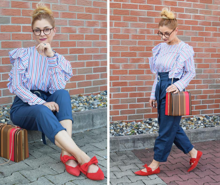 Herbstlook mit Paperbag Hose und roten Schuhen