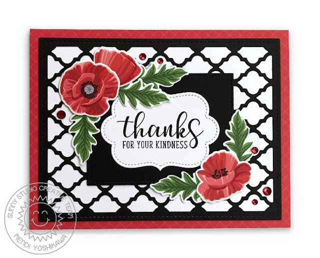 Sunny Studio Thanks for your Kindness Layered Poppies Floral Card Card (using Poppy Fields Stamps,  Frilly Frames Quatrefoil Dies, Sliding Window Dies, Autumn Greetings Stamps & Classic Sunburst Paper)