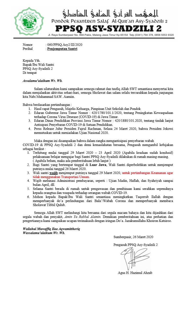 Download Surat Edaran Liburan Santri Putri PPSQ Asy-Syadzili