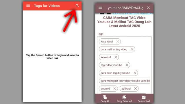 Cara melihat tag video youtube di hp android