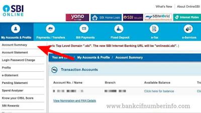 Select Account Summary option