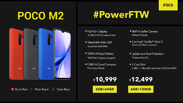Poco M2 é oficial (India) com chipset Helio G80