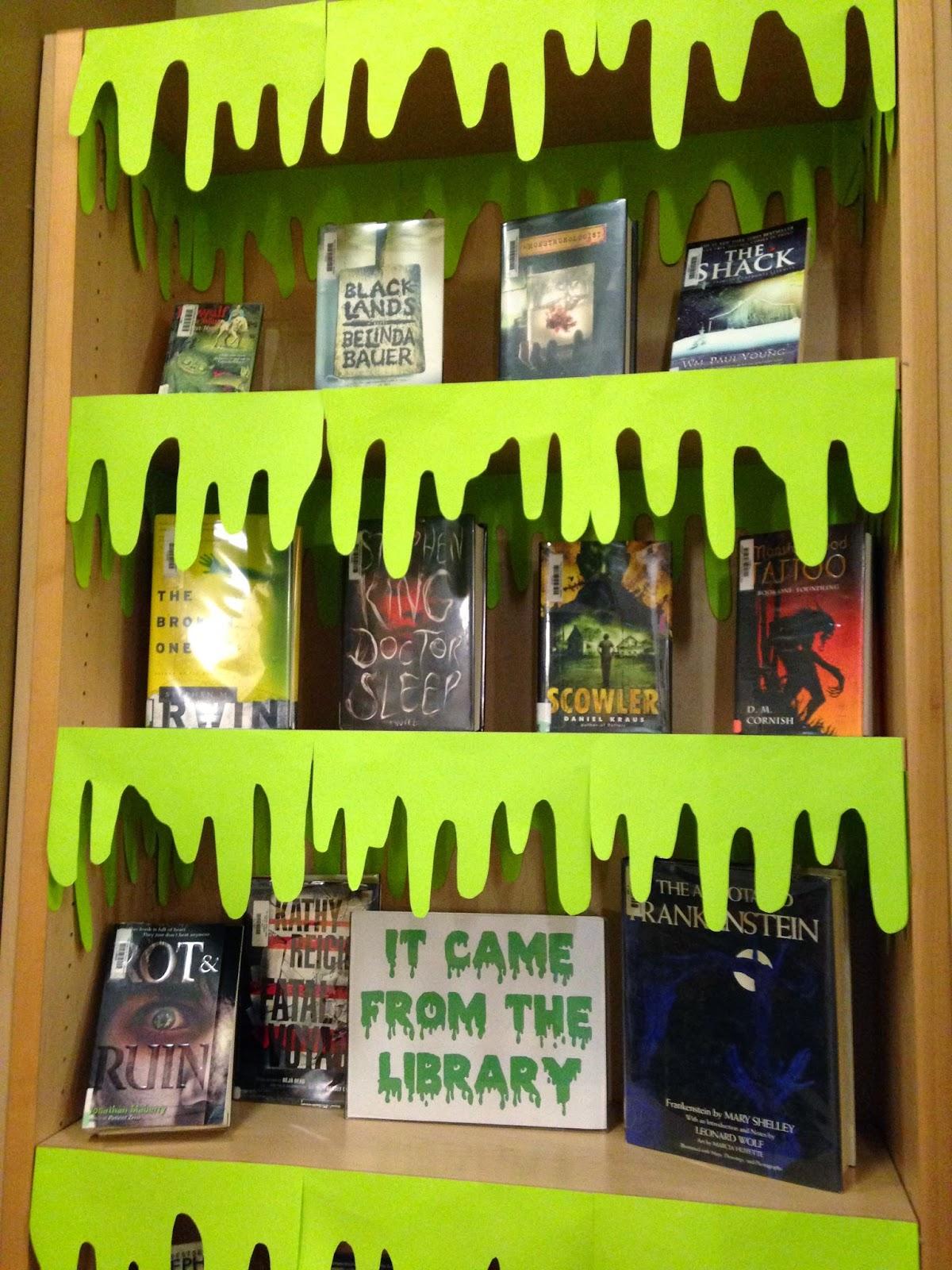 librarian on display  october  halloween slime display