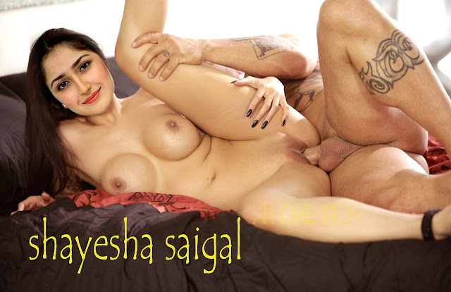 Sayesha Saigal spreading leg shaved pussy fucked naked sex in private hotel