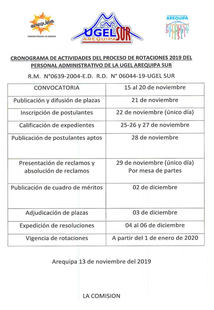 Cronograma de rotacion del personal administrativo 2019