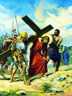 Viacrucis 5 - El Cireneo Ayuda A Jesus A Llevar La Cruz