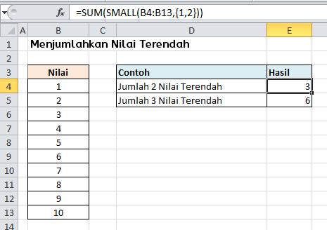 Contoh Rumus Excel Menjumlahkan Nilai Terkecil