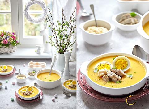 Zupa chrzanowa z warzywami i białą kiełbasą