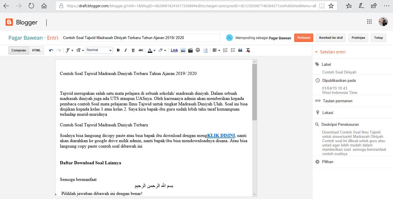 Contoh Soal Tajwid Madrasah Diniyah Terbaru Tahun Ajaran