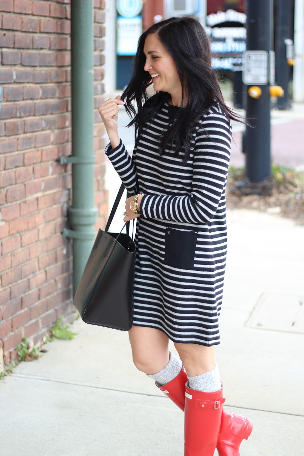 #JJillStyle Black and grey stipe dress
