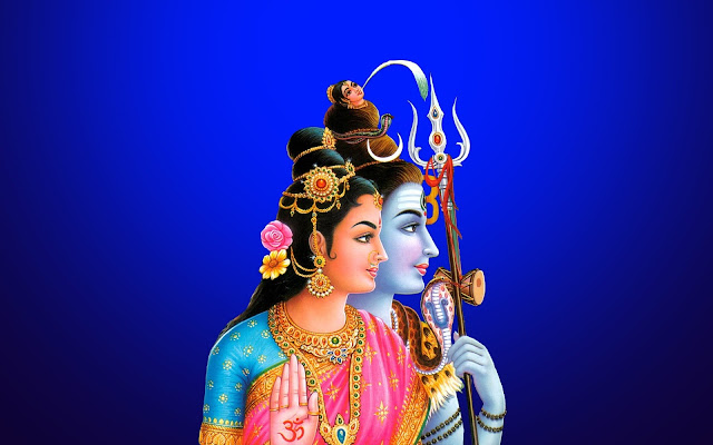 Best Lord Shiva & Parvati Lovely  Wallpaper In Blue Background